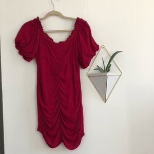 NWT UO Ruched Off the Shoulder Mini Dress
